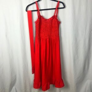 NWOT Shirred Red Dress